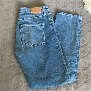 High waisted straight leg cropped jean